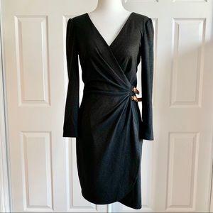 Ali Ro Black Sparkle stretch Faux Wrap Dress